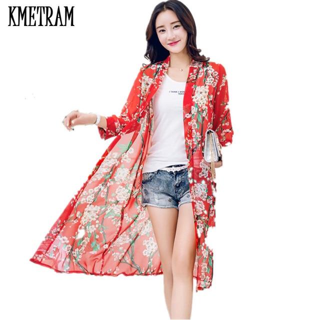 Women Blouses Summer 2018 Floral Blouse Casual Camisas Femininas Blusas  Kimono Cardigan Chiffon Women Tops Long Shirt YJZ015 646f2d98227f