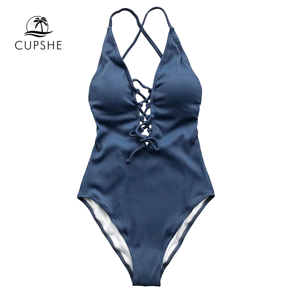 CUPSHE Remind Me Solid One-piece Swimsuit Women Backless Deep V neck Lace Up Sexy Bodysuits 2019 Beach Bathing Suit Swimwear 2
