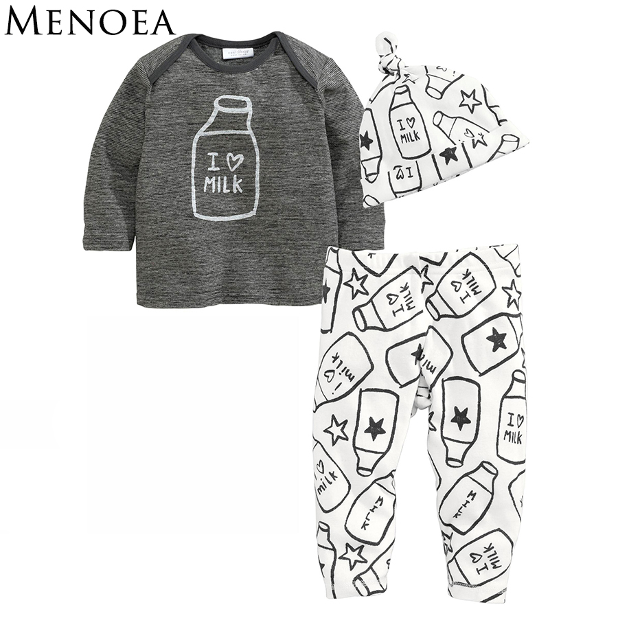 Menoea 2016 Autumn Baby Clothing Sets Baby Boys Clothes Long Sleeve Letter T-shirt+Pants+Hats 3Pcs Suits Children Clothing