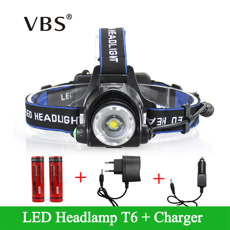 LED Headlight Cree XML-T6 Headlamp Waterproof Rechargeable 2000LM Faro +2*18650+Charger Adjustable Head lamp 3 Modes Linternas