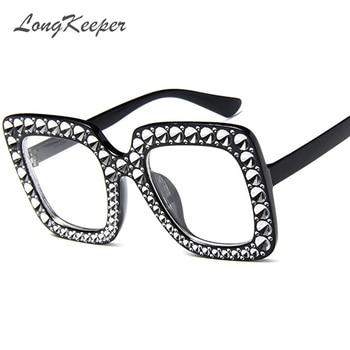 LongKeeper Oversized Rhinestone Glasses Frame Women Big Black Square Eyeglasses Frame Clear Lens Ladies Luxury Fashion 2018 New