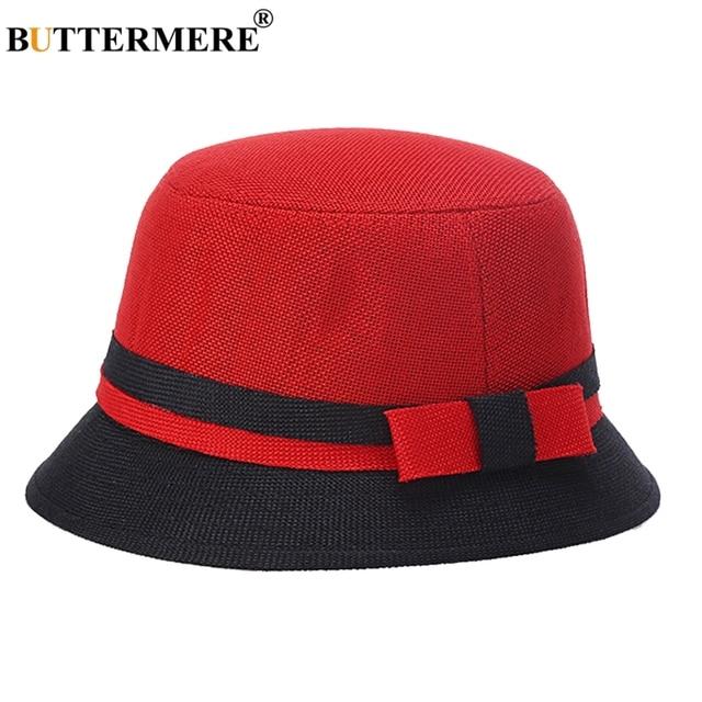 598d21a4bdf BUTTERMERE Women Bucket Hats Linen Red Fisherman Caps Gentlewoman Elegant Beach  Hats Lady Designer Hawaii Bob Cap Summer 2019