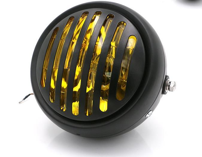 Motorrad Kopf licht Gelb glas Cafe Racer Scheinwerfer Geändert Motorrad Licht