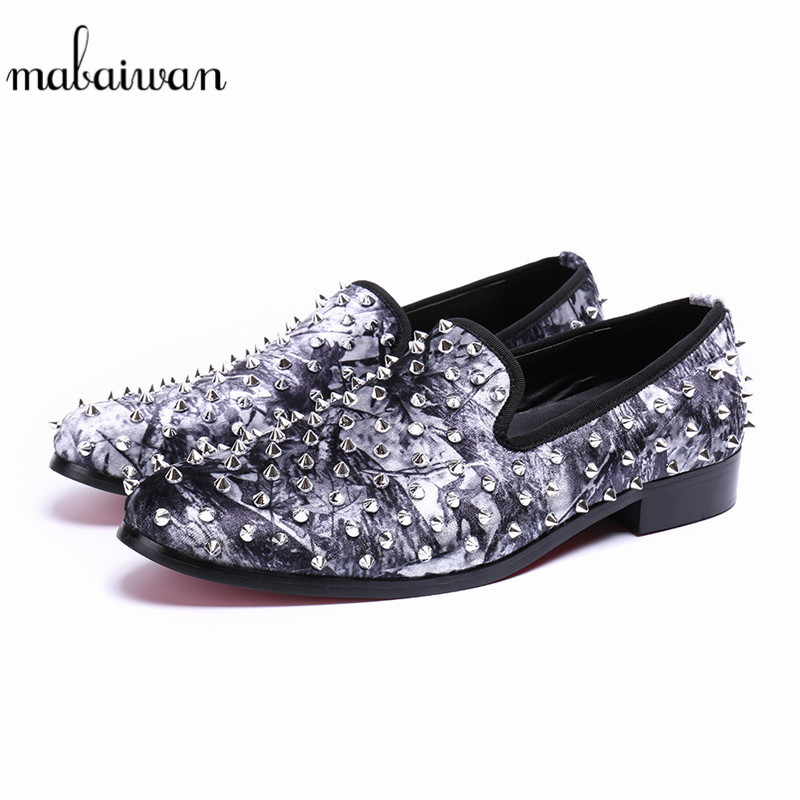 Mabaiwan New Fashion Men Shoes Rivets Slipper Glitter Loafers Wedding Dress Shoes Men Spikes Handmade Leather Party Flats 38-46 ovxuan metal skull buckle handmade men ankle shoes punk party dress loafers glitter bright sequins men flats casual rivets shoes