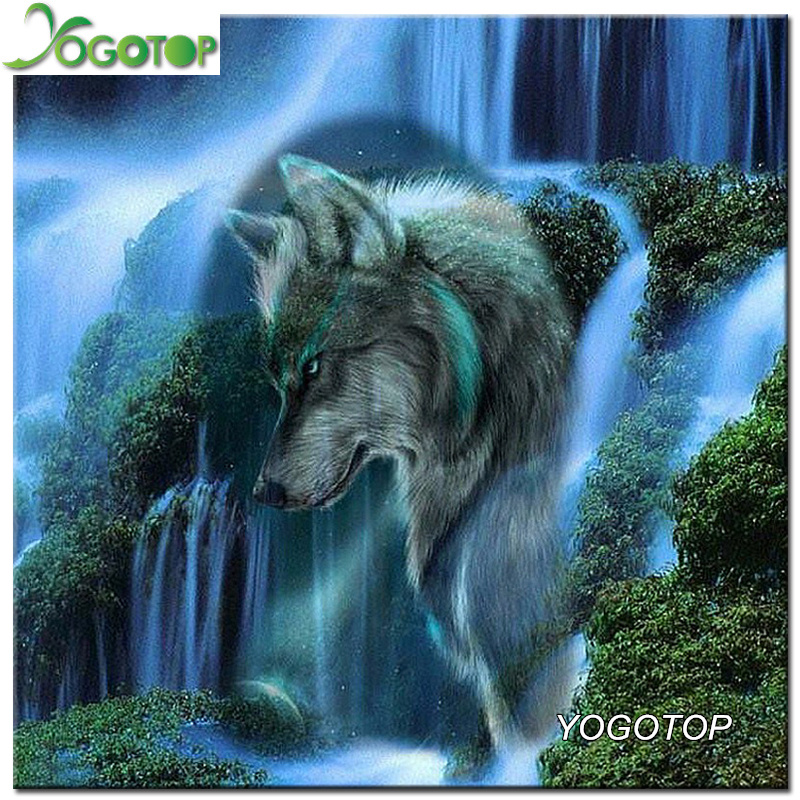 YOGOTOP Diy Diamond maalaus Ristipistopakkaukset Full Diamond -kirjonta-vesiputous Wolf Needlework Diamond Mosaic Home Decor VS575
