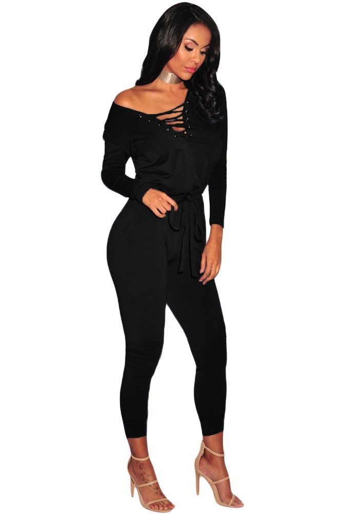 Black-Grommet-Lace-Up-Long-Sleeve-Jumpsuit-LC64223-2-3