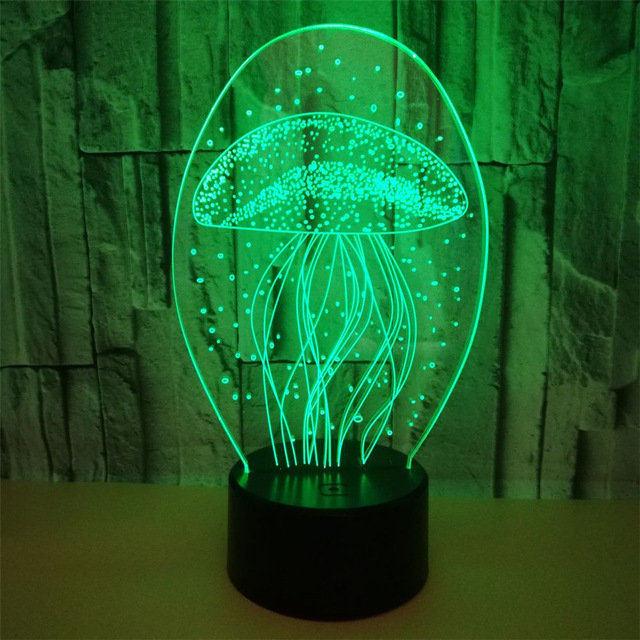 3D Night Light RGB Acaleph Kawaii sea animal jellyfish acaleph Marine benthos with remote control atmosphere gift lamp lava