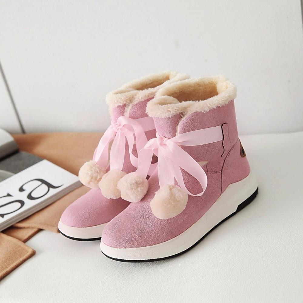 Nieve Pulsh Mujer Con Botas Moda Rosa Corte Rebaño Invierno Tobillo grya Zapatos Primavera 3 Plana Black pink Cm De beige Otoño Egonery 5fwqnX6En
