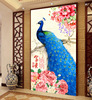 5D Diamond Painting Peacock Rich Peony Flowers Wall Stickers Paintings Rhinestone Crystal Round Diamond Pasted Cross