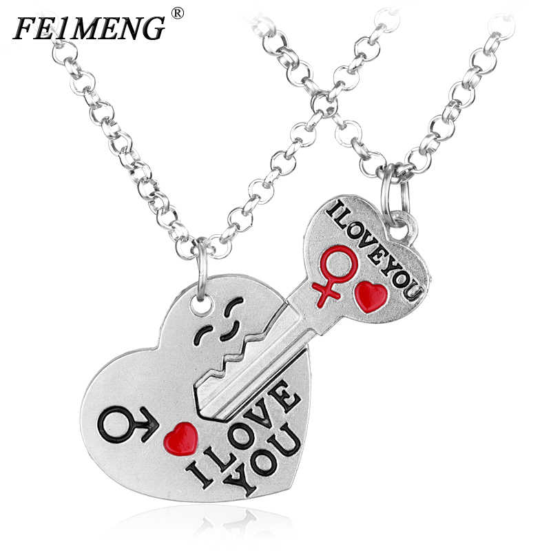 Fashion Heart Key Necklace Lettering I Love You Couple Pendant Necklaces For Women Men Lovers Charm Jewelry Sweet Accessories