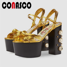 CONASCO Fashion Women Pumps Brand Design Quality Microfiber High Heels Pearl Decoration Heel Summer Prom Sandals Shoes Woman