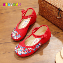 Girls canvas shoes children's handmade shoe girls chinese national style embroidered  kids dance shoes old beijing cloth shoes все цены