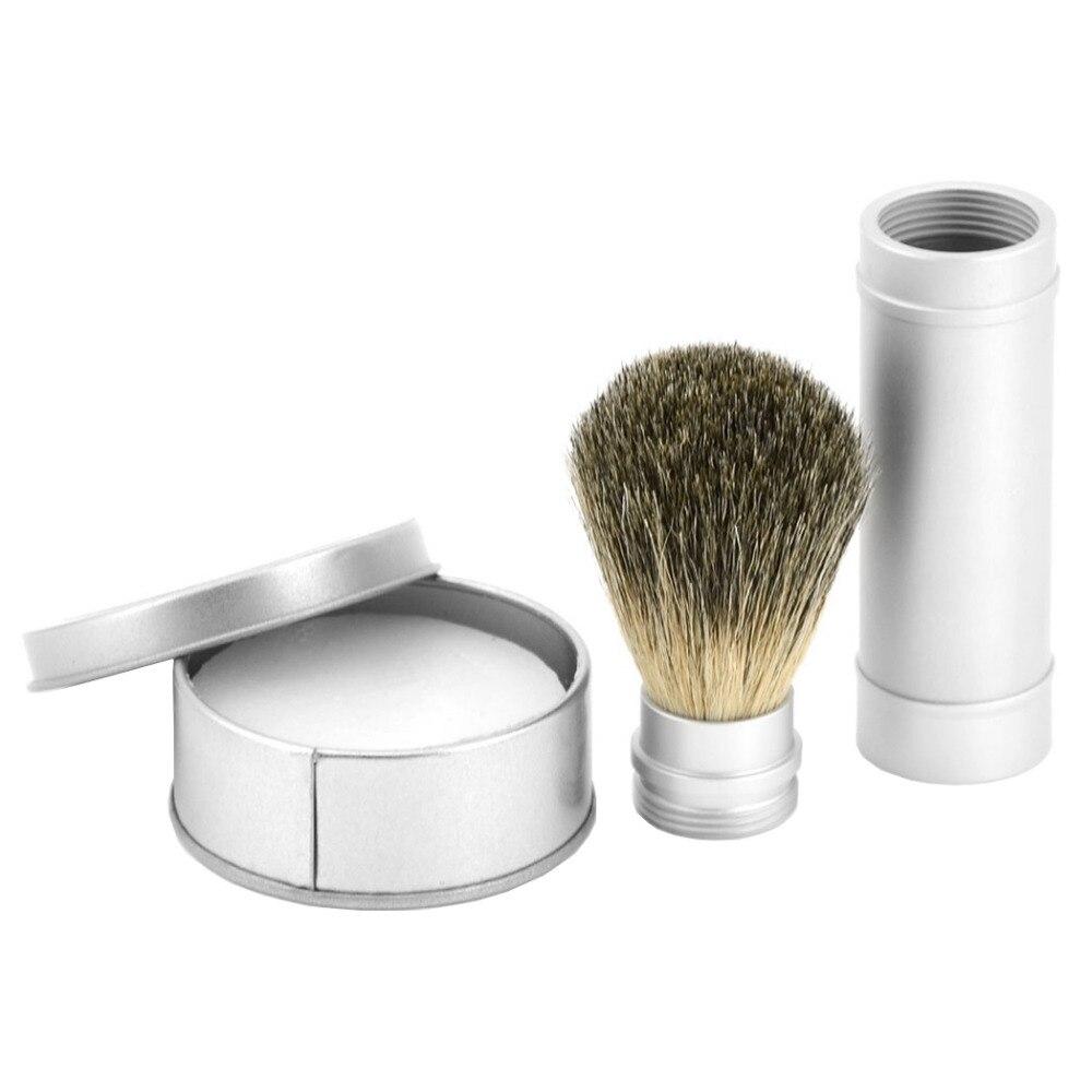 ZY 3pcs/set Men Travel Shaving Brush Set Pure Badger Shaving Brush + Barber Shaving Shave Soap Cream + Metal Box