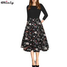 Oxiuly Elegant Women's Dresses Vintage Patchwork Printed Tunic Pinup Wear To Work Office Casual Party A Line Flare Skater Dress цена и фото