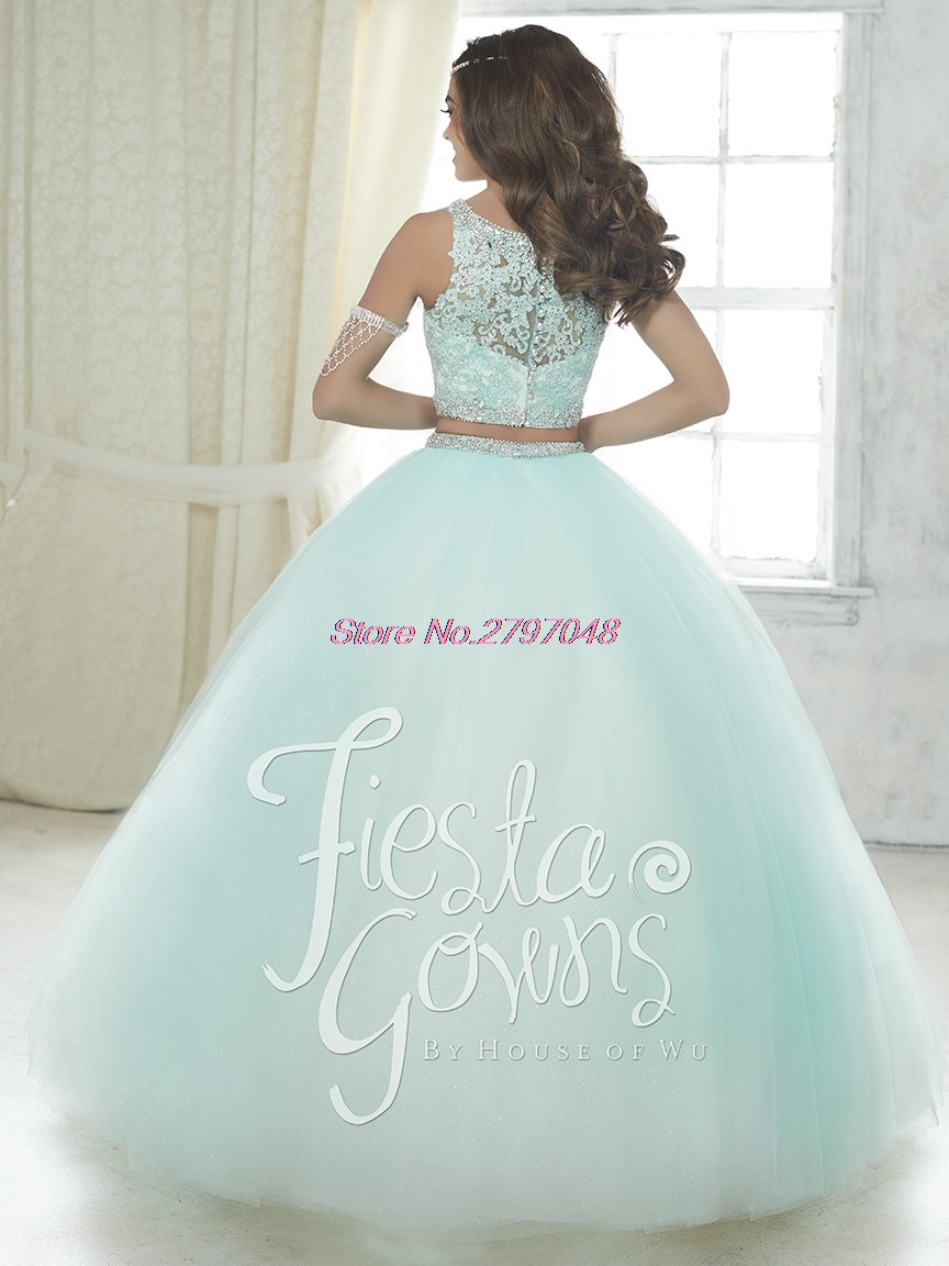 Mint Green Two Pieces Quinceanera Dress 2017 Beaded For 15 Year Ball Gown  Ruffles Cheap Sweet 16 Dress Vestidos De 15 Anos Q45-in Quinceanera Dresses  from ... 41488f9a8059