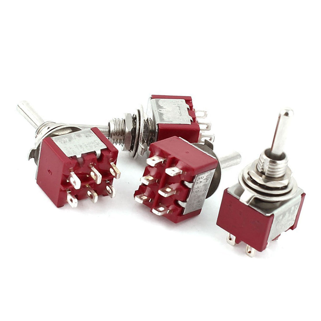 High Quality 4Pcs AC 250V 2A 120V 5A 6 Pin Terminals ON/Off/ON DPDT Toggle Switches