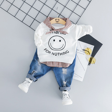6d0238f3584 HYLKIDHUOSE 2019 Toddler Infant Clothing Sets Baby Girls Boys Clothes Suit  Smiley face T Shirt Jeans ...