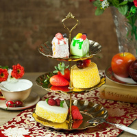 2 3 Tier Metal Cake Stand With Fruit Plate Candy Dish Circle Round Display Serving Tray