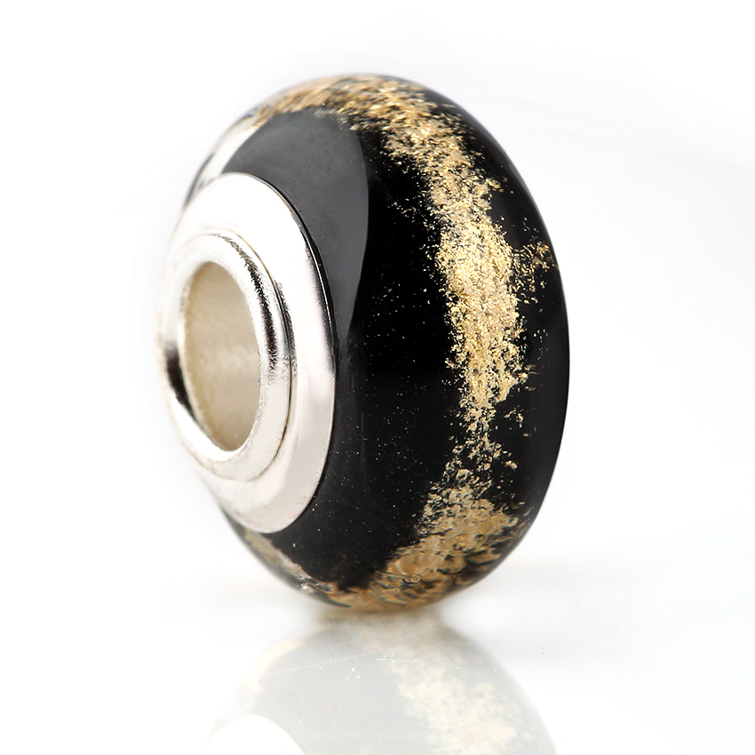 10 Pcs a Lot Glass Seed Black Beads gold color Powder Inside Spacer European Murano Czech Bead Fit For Pandora Charms Bracelet(China)