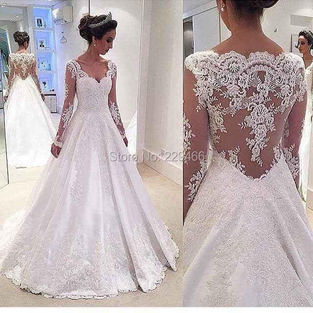 86fee3b359a1fb0 Wuzhiyi Элегантное свадебное платье 2018 с длинными рукавами vestido de  noiva ALine длинное платье с открытой