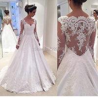 wuzhiyi Elegant wedding dress 2018 long sleeves vestido de noiva ALine long dress backless dress elegant plus size made in China