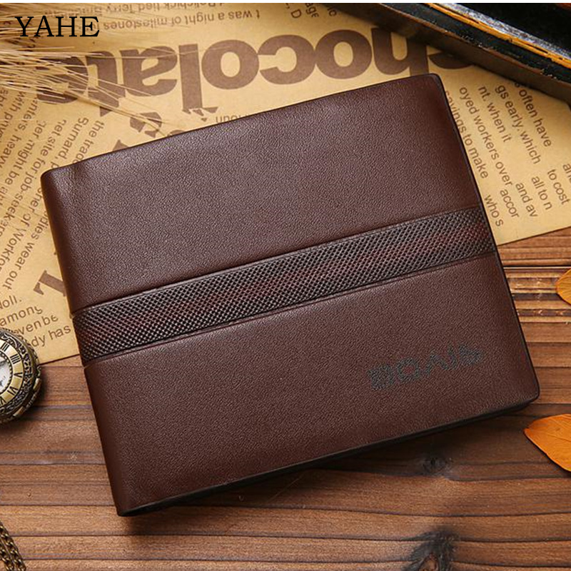 YaHe Brown Khaki PU Leather Wallet mens Short Fashion Simple Purse Wallets for men ID & Credit Card Holder Top Quality 2018 2017 miwind canvas mens wallets top quality wallet card holder multi pockets credit cards purse male simple design brand purse