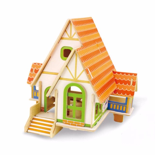 3D Wooden Puzzle House Building Jigsaw Chalets Educational Toys for Children Birthday kids Gift Brain game DIY early education