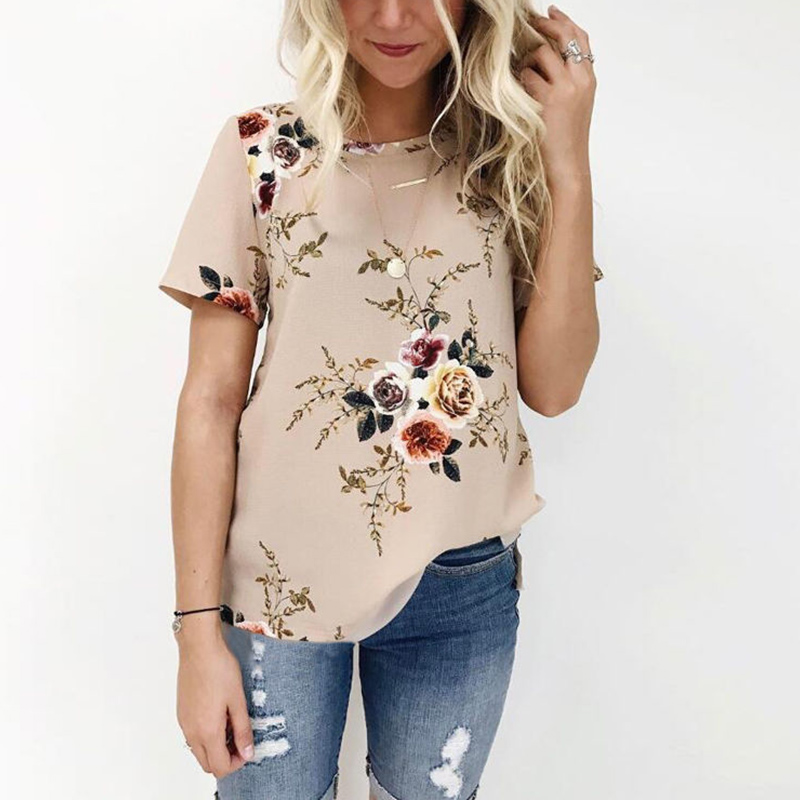 Women Summer Chiffon Blouses Shirts Lady Girls floral Print Loose O-Neck Shirt Short Sleeve blusas de chiffon casual Clothing