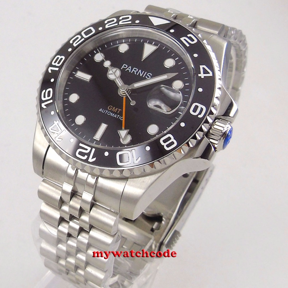 40mm PARNIS black dial ceramic bezel GMT Sapphire glass automatic mens watch цена и фото