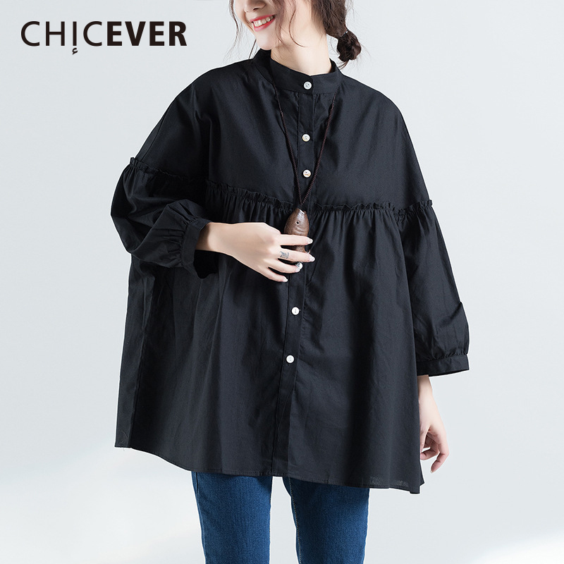 CHICEVER 2018 Spring Stand Female T shirts For Women Top Long Sleeve Loose Big Size Balck T shirt Tops Clothes Fashion Korean