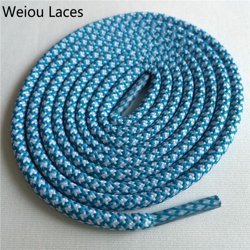 Weiou новые яркие цвета для пеших прогулок, двухцветные шнурки, сменные шнурки для обуви, круглые шнурки для баскетбола 750 - Цвет: 27White Emerald Blue
