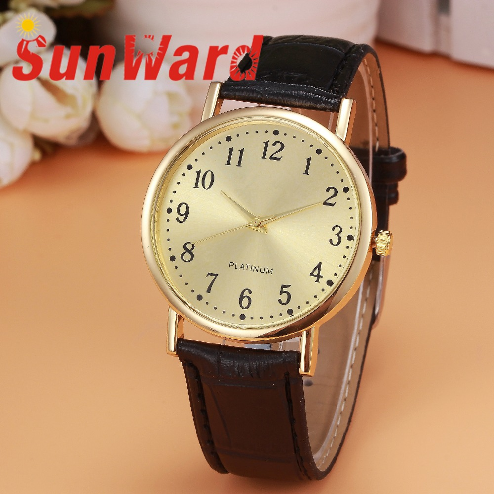 Sunward Relogio Feminino Woman Mens Retro Design Leather Band Analog Alloy Quartz Wrist Watches Horloge 17May3 fabulous 1pc new women watches retro design leather band simple design hot style analog alloy quartz wrist watch women relogio