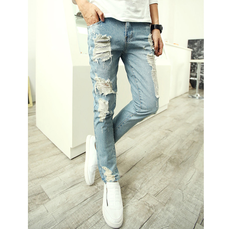 Aliexpress.com : Buy mens skinny ripped jeans men european style ...