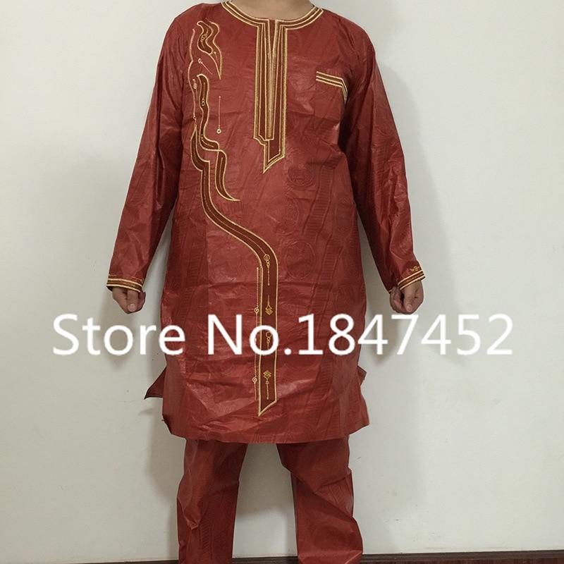 H&D (Besplatna dostava) Afrički čovjek modni dizajn Bazin Riche vez - Nacionalna odjeća - Foto 5