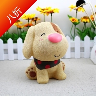 Free Shipping Scarf puppy dog piggy bank resin dog piggy bank change cans decoration birthday gift girls
