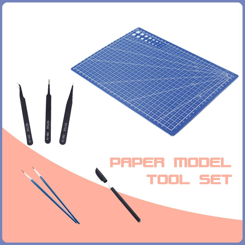 Paper Model Tool Set 3 Tweezers + 1 Cutting Plate + 1 Cutting Pen + 3 Glue Brush