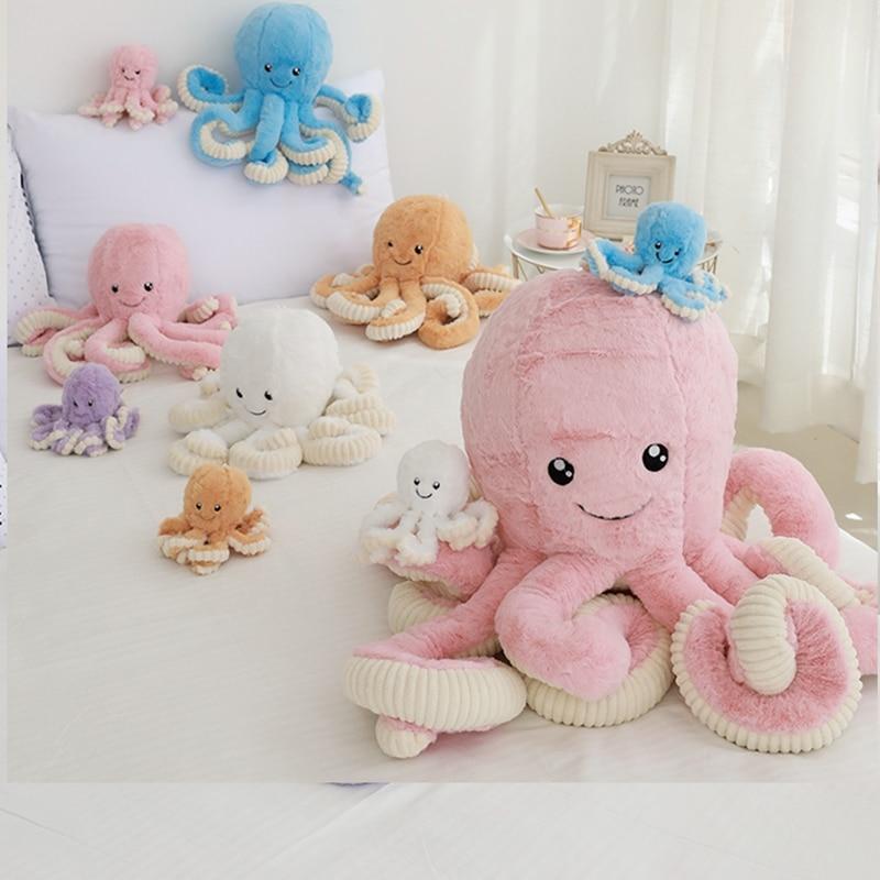 Plush Animal 18/40/60/80cm Giant Big Octopus Plush Toys Doll Kawaii Room Soft Kawaii Plush Long Pillow Food Plush Kid Sofa Pink