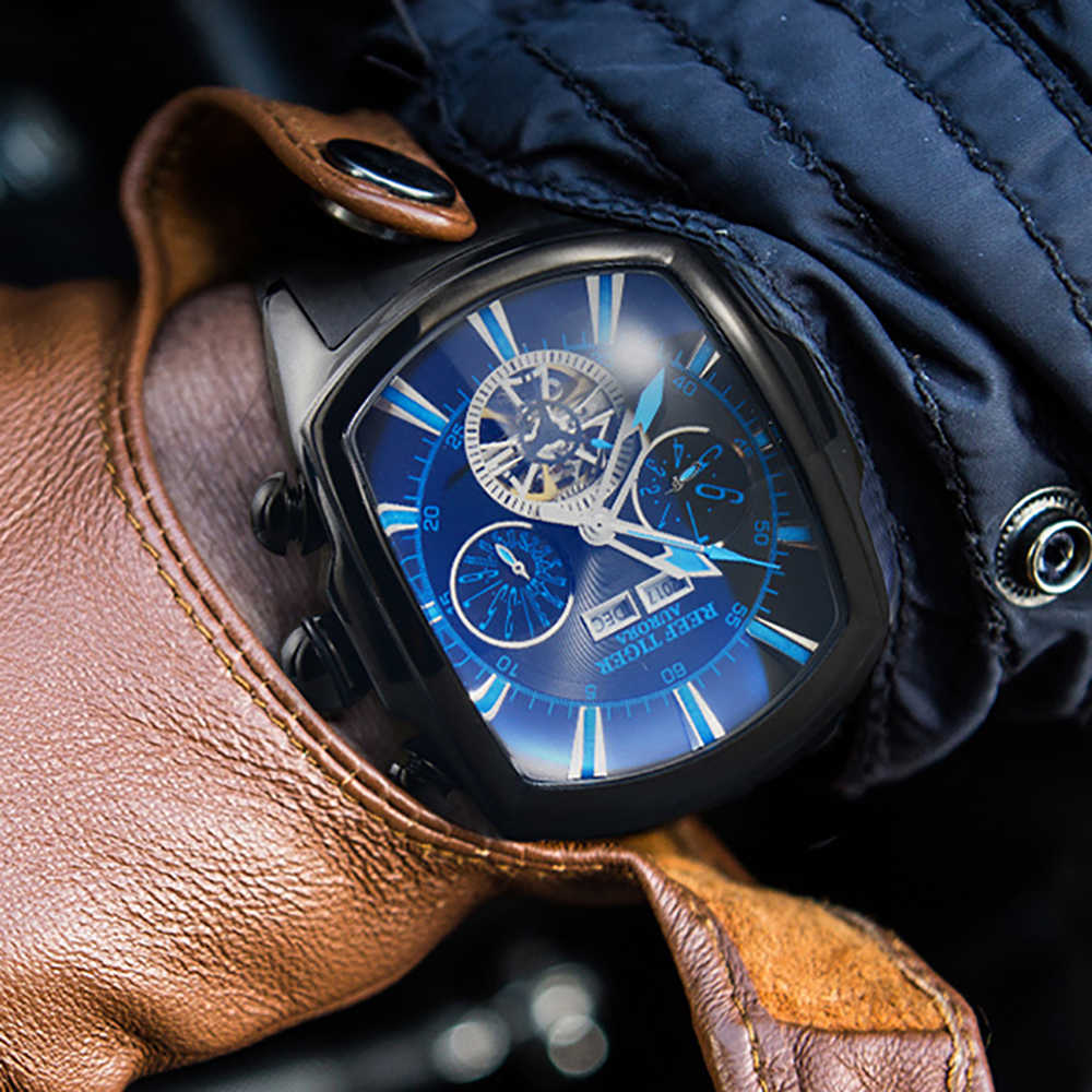 Reef Tiger/RT Large Sport Watches Men Tourbillon Rubber Automatic Mechanical Luminous Waterproof Watch Relogio Masculino RGA3069