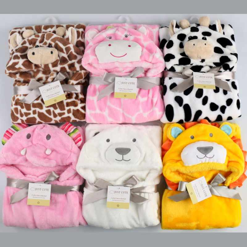2017 New Fashion Cartoon Animal Style Baby Hooded Badrock Flannel Högkvalitativ Barn Bath Robe Infant Handduk