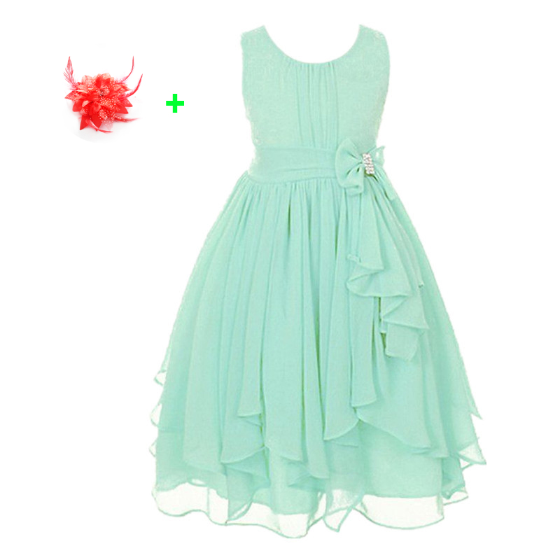 все цены на  2017 kids summer clothes new blue purple pink blue children's dresses wedding party mint green chiffon flower girls tulle dress  онлайн