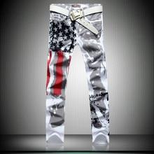 2016 fashion mens american flag jeans skinny mens jean high quality America men jeans slim fit male denim pantalon homme