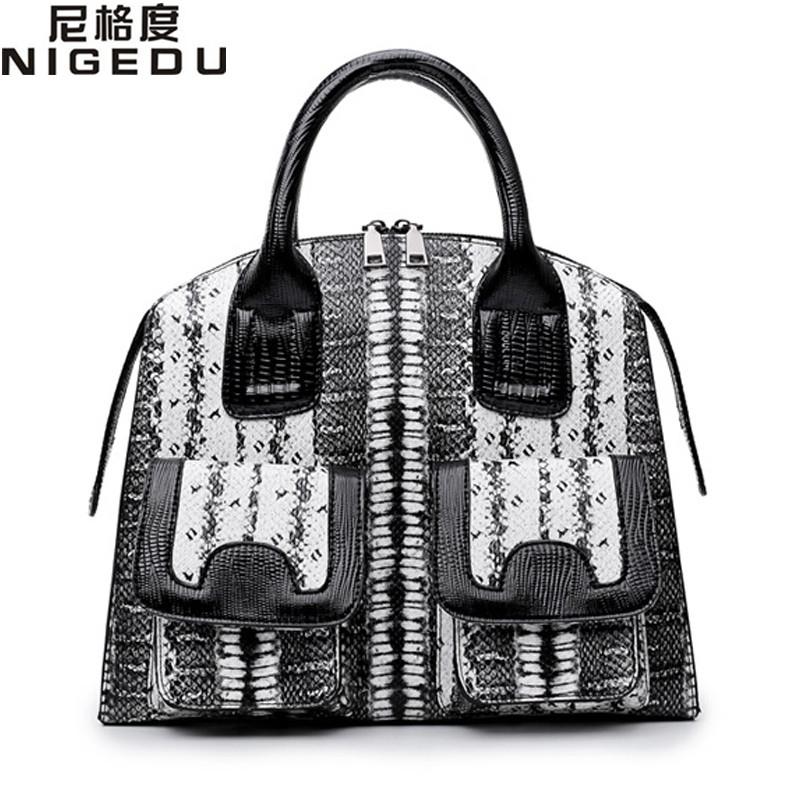 NIGEDU Brand Luxury Snake Pu Leather Handbags for Women	Shoulder bag Famous Designer Women's Totes Big Elegant lady office bag luxury genuine leather bag fashion brand designer women handbag cowhide leather shoulder composite bag casual totes