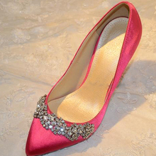 New Woman Spring Summer High Heel Shoes Satin Pointed Toe Fashion Dress Shoes Bridal Wedding Shoes
