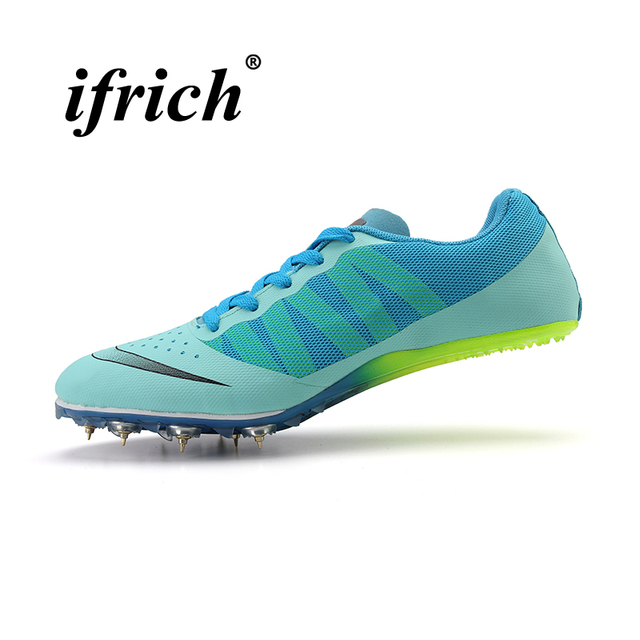 f0634ec8a7a 2018 Track Spikes Shoes for Men and Women Green Blue Athletics Spike Shoes  for Running Sneakers Lightweight Unisex Trainers