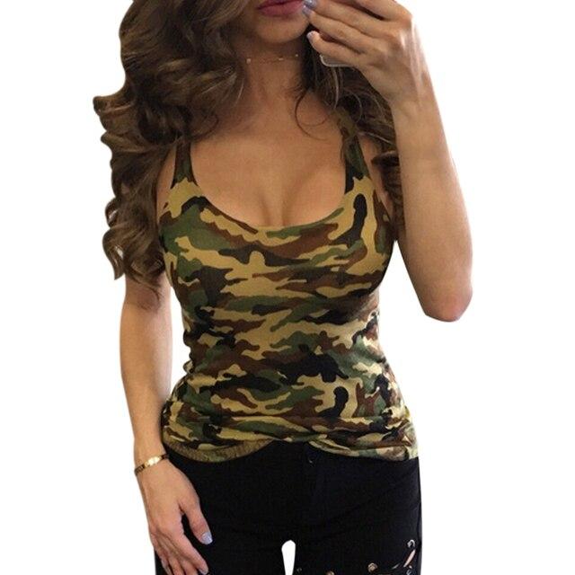 c298a56253dcd Fashion 2017 Women S Summer Tank Tops Camouflage Wild Sleeveless Female  Blouses Streetwear Casual Vest Cropped Feminino