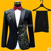2016 High Quality Custom made Men's Suits applique Groom Tuxedos Performance clothing Wedding Party Prom Blazer (Jacket+Pants)