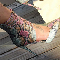 EMMA KING Summer Fashion Mixed Colors Stilettos Pointed Toe Thin High Heels Gladiator Sandals Women Pumps Sexy Ladies Shoes
