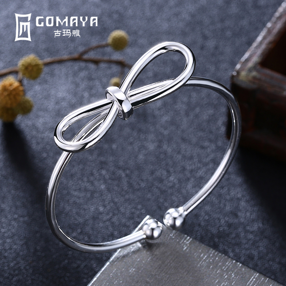 GOMAYA Authentic 999 Sterling Silver Bow-knot Bangles Vintage Cuff Bracelets Popular Fine Jewelry Gift for Women sweet layered knot cuff ring for women