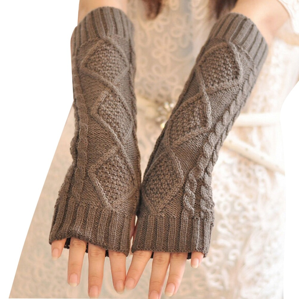 New 2016 Women Knitted Crochet Long Fingerless Elbow Gloves Mitten Winter Warm Gloves S4