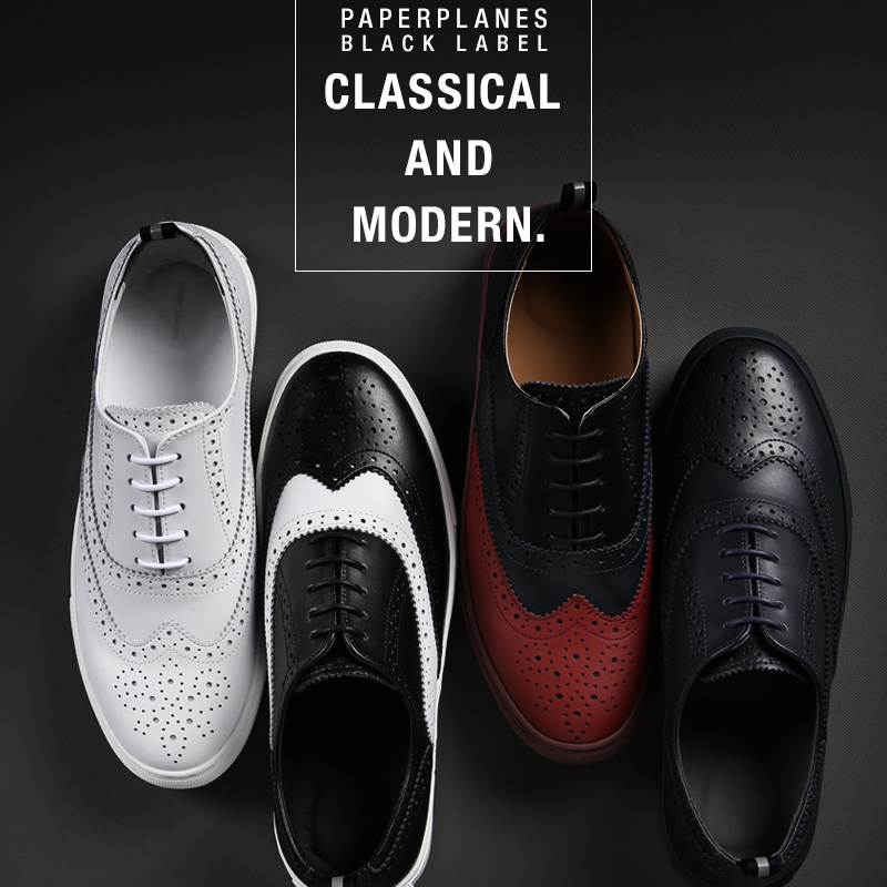Black Label Premium Paperplanes Leather Lace Up Training Shoes Trainers Sneakers-PP2018 цена 2017